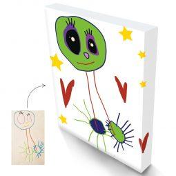 Cadeau original et unique : dessin d'enfant sur tableau toile murale