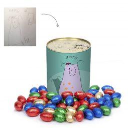 Offrez une boîte personnalisée avec dessin remplie d'œufs en chocolat