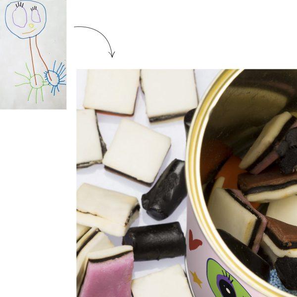 Cadeau personnalisé : des réglisses dans une boîte personnalisée