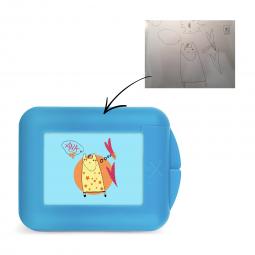 Boîte à goûter bleue personnalisée avec un dessin