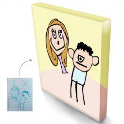 Affiche dessin d'enfant au mur sur tableau toile personnalisé